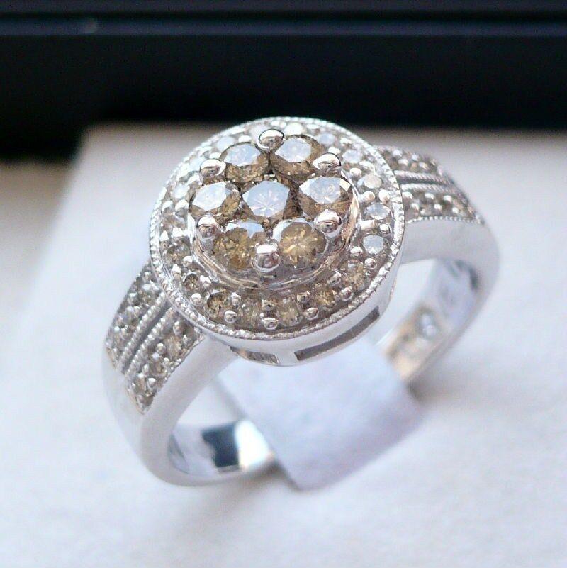 14K WHITE gold LADIES .65 CT DIAMONDS ENGAGEMENT WEDDING RING champagne diamonds
