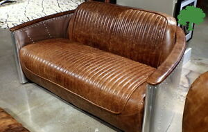 62 Aviator sofa loveseat vintage brown leather aluminum frame spectacular