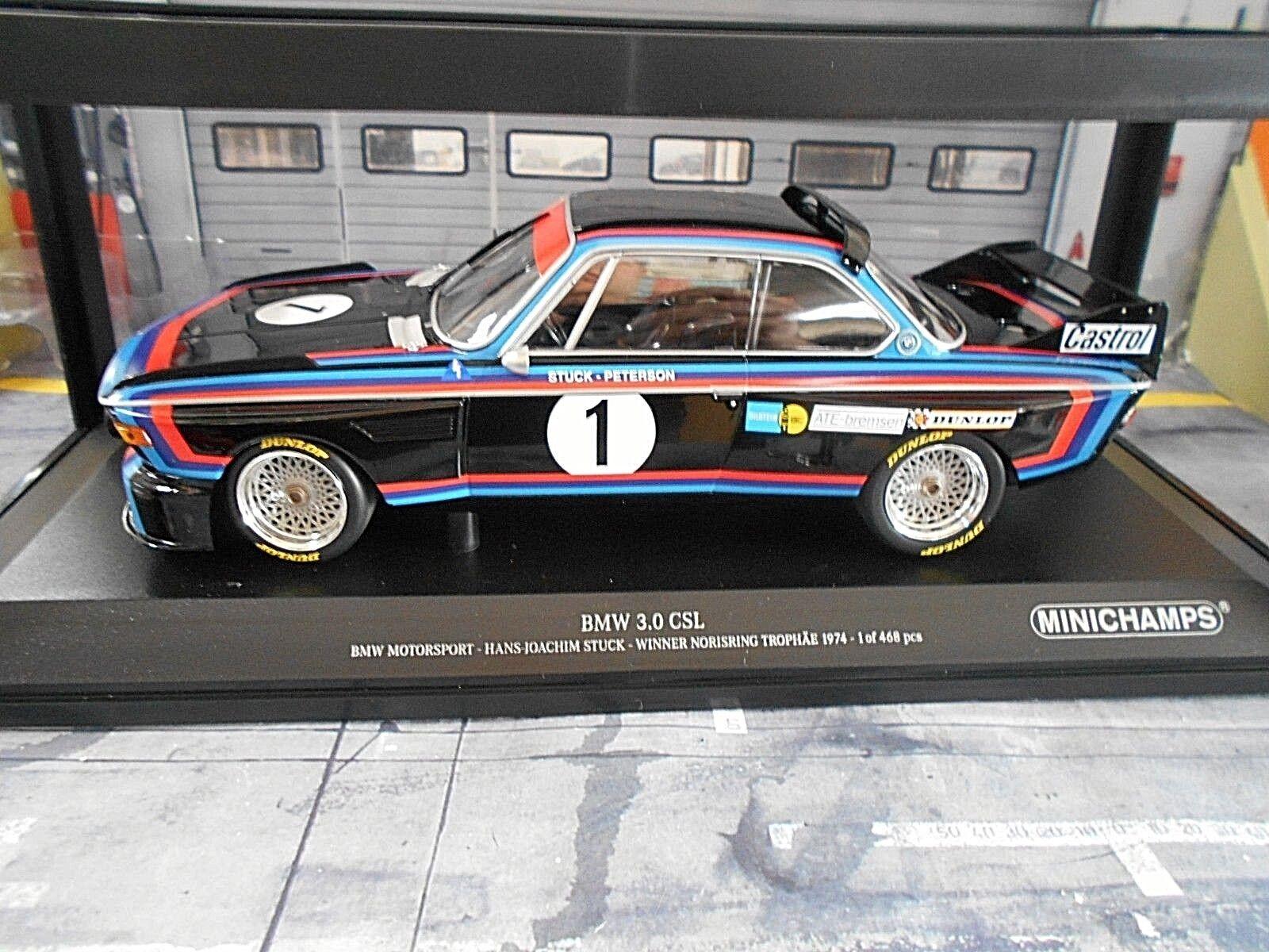 BMW 3.0 CSL NORISRING DRM 1974  1 stuc CASTROL CASTROL CASTROL Works Winner Nouveau MINICHAMPS 1 18 7f0f56