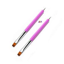 2x Nail Art Acrylic UV Gel Design Tips Painting 2 Ways Dotting Brush Pen