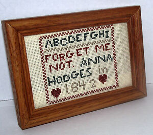 Sampler-Cross-Stitch-1842-ABC-Forget-Me-Not-Anna-Hodges-Wood-Frame-Reproduction