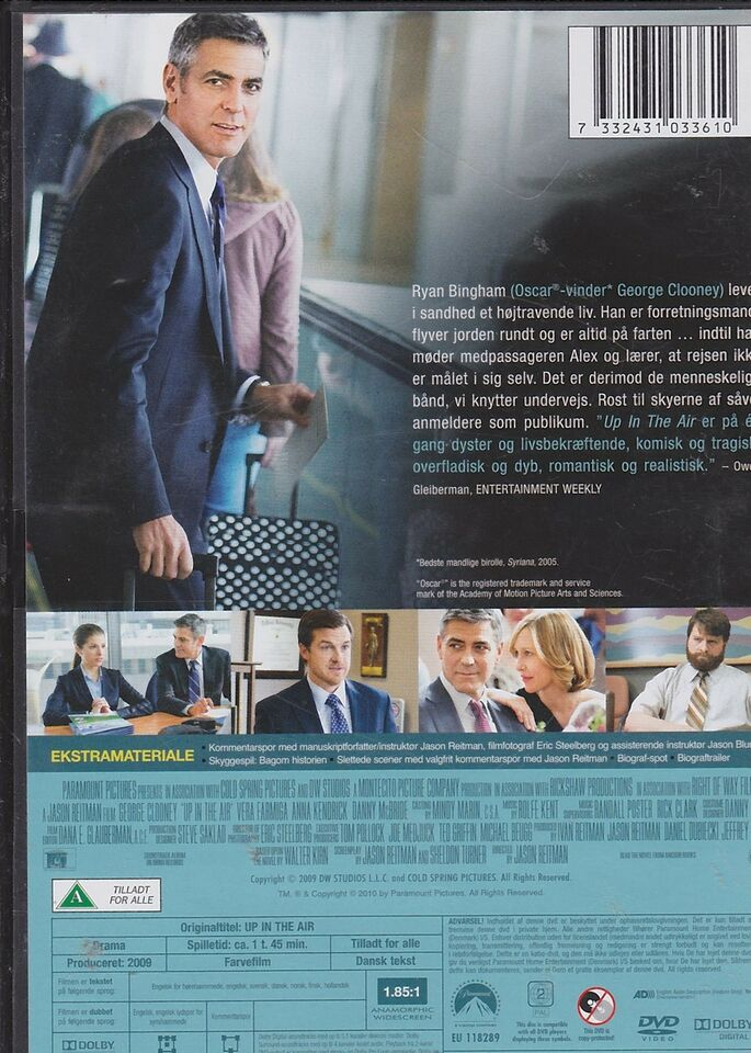 Up in the air, instruktør George Clooney, DVD