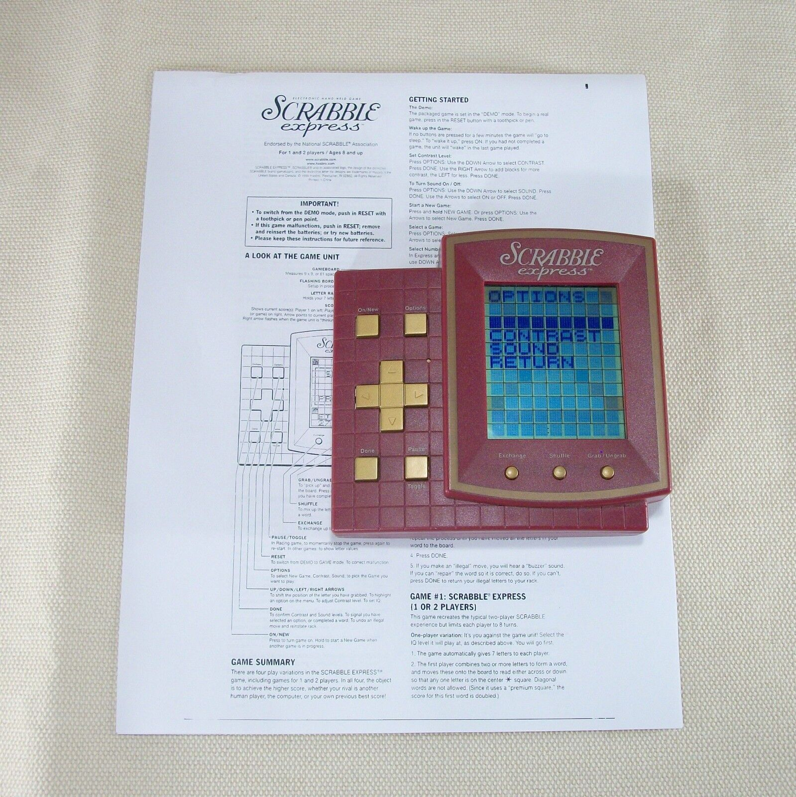 Scrabble Express Electronic Handheld Travel Game (Hasbro 1999) Tested Tested Tested & Working 748f8e