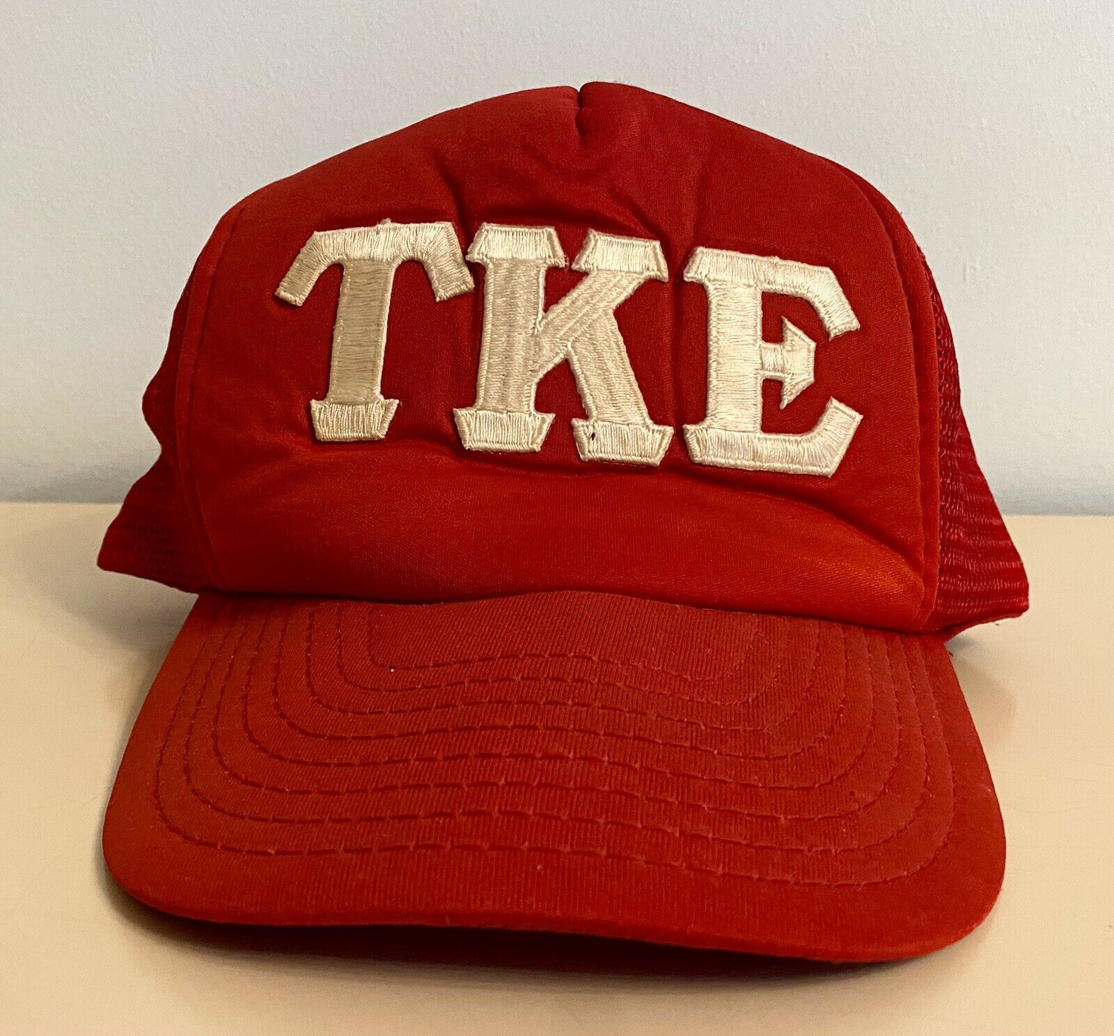 Vintage TKE Fraternity Snapback Trucker Hat Red - image 1