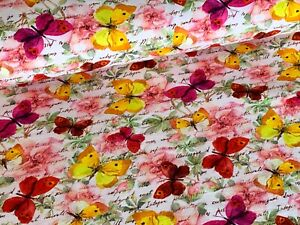 /'60/' with fleece Butterflies on sweatshirt fabric kids fabric knit fabric