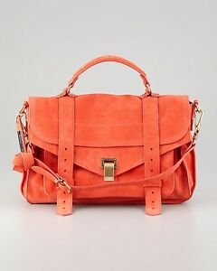 2456d47526 PROENZA SCHOULER Orange Ps1 Medium Suede Satchel Bag Shoulder Purse ...