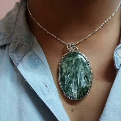 natural seraphinite pendant,925 silver pendant,seraphinite necklace,seraphinite pendant,drop shape pendant,gemstone pendant
