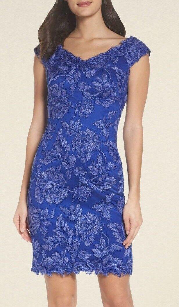 Tadashi Shoji Farrah Embroidered Lace Off Shoulder bluee Lilly Dress