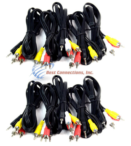 5/' Feet 3 RCA Male to 3.5mm Male Jack Plug Cable Connector Audio Video AV 10 PCS