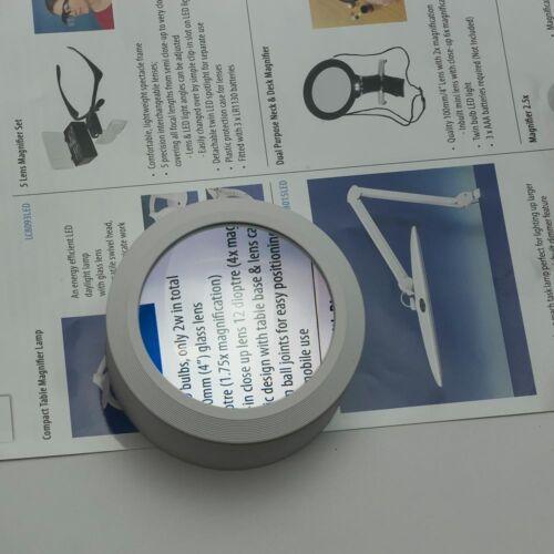 Lampe DEL Daylight Portable Dôme Loupe /& 3 batteries-Ordinateur de bureau lecture