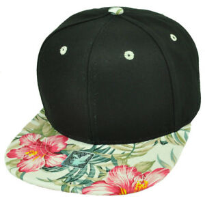 7ec1d6d2380 Black White Floral Print Pattern Flat Bill Snapback Hat Cap Solid ...