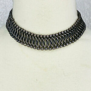 antique-Necklace-Choker-chunky-Silver-tone-Wide-Heavy-Metal-Chain-Woven-Mesh