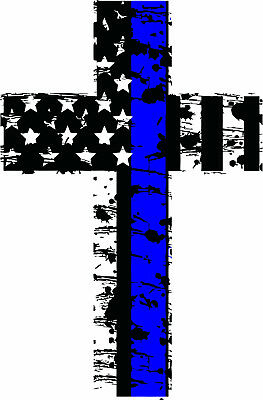 Thin Blue Line Distressed American Flag Police Christian