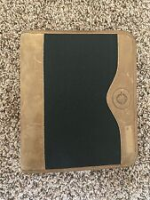 Franklin Covey Green Line Black Brown Leather Planner Binder Zip Compact 125