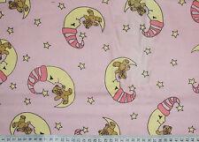 Baumwoll-Stoff Flanell - Teddy Mond Sterne auf rosa (13,- €/m)