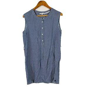 Trenery-Womens-Dress-Size-12-Shift-Dress-100-Linen-Blue-White-Abstract-Gorgeous