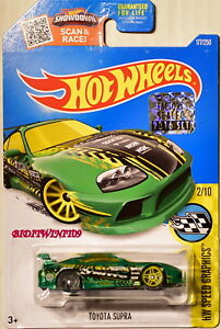 HOT-WHEELS-2016-HW-SPEED-GRAPHICS-TOYOTA-SUPRA-2-10-GREEN-FACTORY-SEALED-W