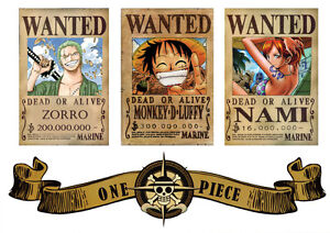 POSTER-A4-PLASTIFIE-LAMINATED-1-FREE-1-GRATUIT-MANGA-ONE-PIECE-LOGO-amp-WANTED