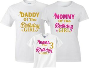 73caa94f Mom & Dad Family New Design Birthday Girl Customized WHITE T-Shirts ...