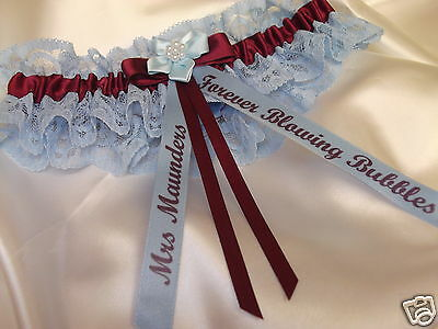 PERSONALISED ROYAL BLUE AND WHITE WEDDING GARTER LEICESTER CITY COLOURS  BOXED