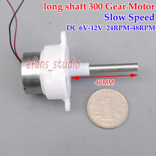 DC 6V-12V 48RPM 40mm Long shaft Worm Gear Motor Slow Speed Reduction Gearmotor