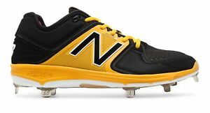 New Balance Low-Cut 3000V3 Metal Baseball Cleat Mens Shoes Black With Yellow
