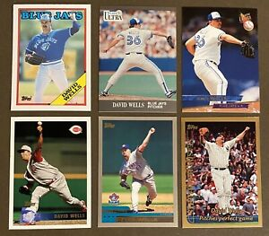 David-Wells-6-CARD-LOT-including-ROOKIE-1988-Topps-Traded-128T