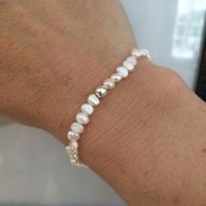 Image Is Loading Tiny Freshwater Pearl Stretch Bracelet Sterling Silver Real