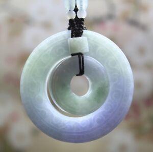 Green Light Purple Jade Pendant  Lucky Peace Ring jadeite Pendant  Burma Natural Grade A untreated jadeite Ring Pendant gift for him