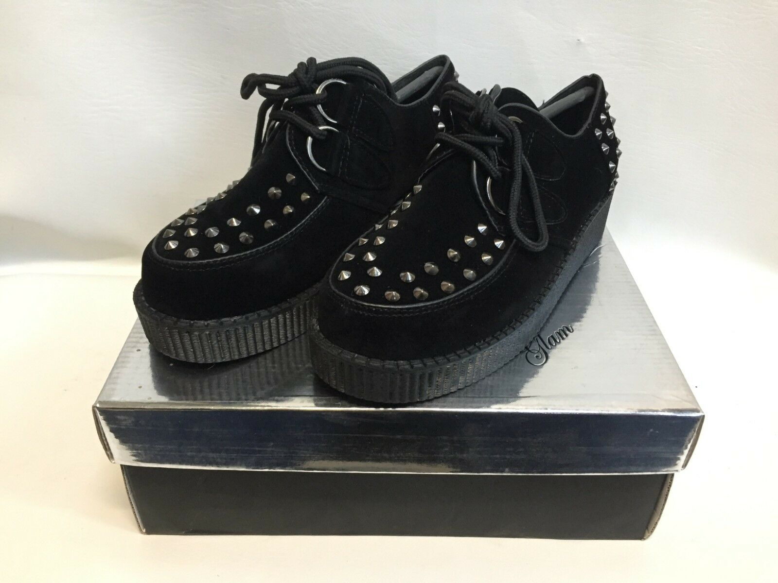 New Boxed Essex Glam Black Faux Suede Studded Creepers Size UK 4 FREE P&P