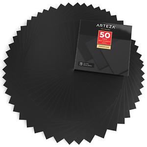 "Waterproof Matte Black Pack of 50 12/""x12/"" ARTEZA Self Adhesive Vinyl Sheets"