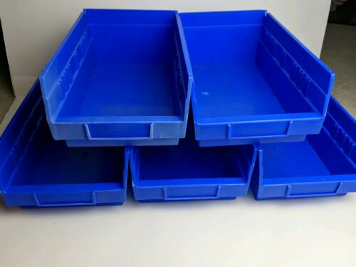 """Lot Of 5 Large Blue Storage Bins Organization Containers 11/"""" 6.5/"""""""