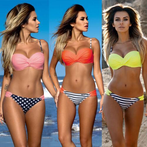 Damen Push Up Bikini Set Bademode Badeanzug Gepolstert BH Beachwear Schwimmanzug