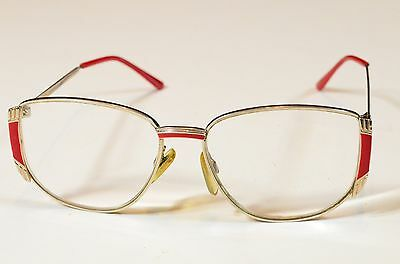 Vintage 1980s Magnivision Silver Wire Rim Red Eyeglass Frame Hipster Retro