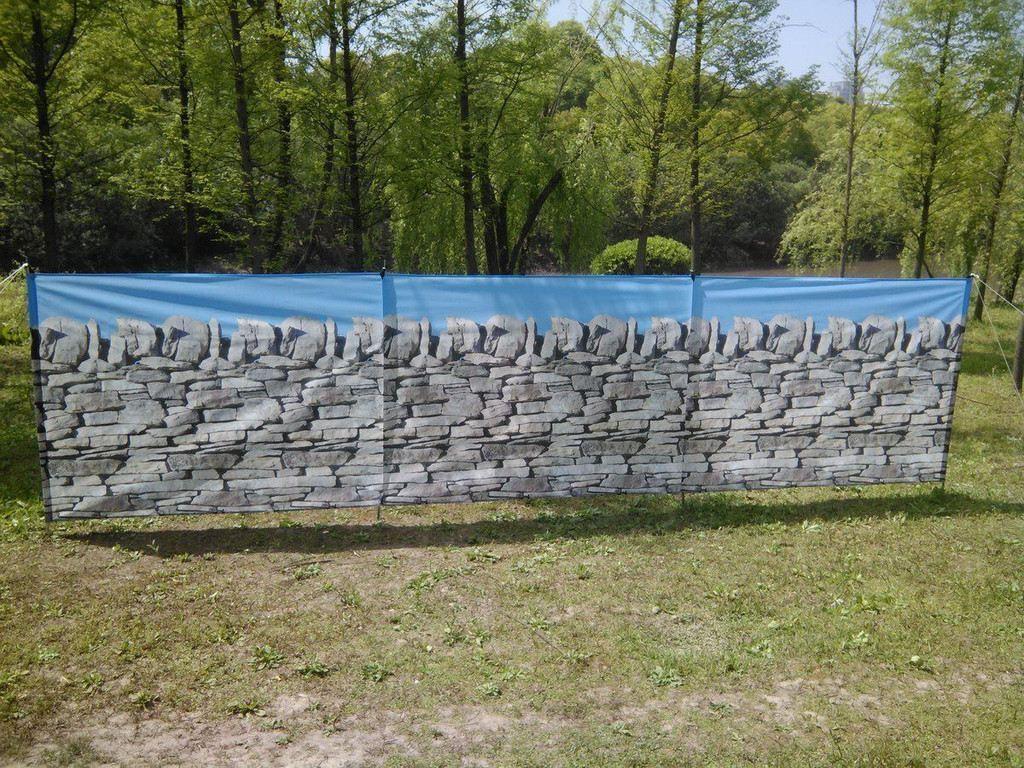 COMPATTO Paravento Spiaggia Rifugio (4 ACCIAIO ASTE   Bastoni) - Stone muro