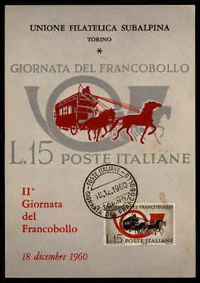 Italien Mk 1960 Francobollo Tag Der Marke Pferd Pferde Maximumkarte Mc Cm H1769 Durchsichtig In Sicht
