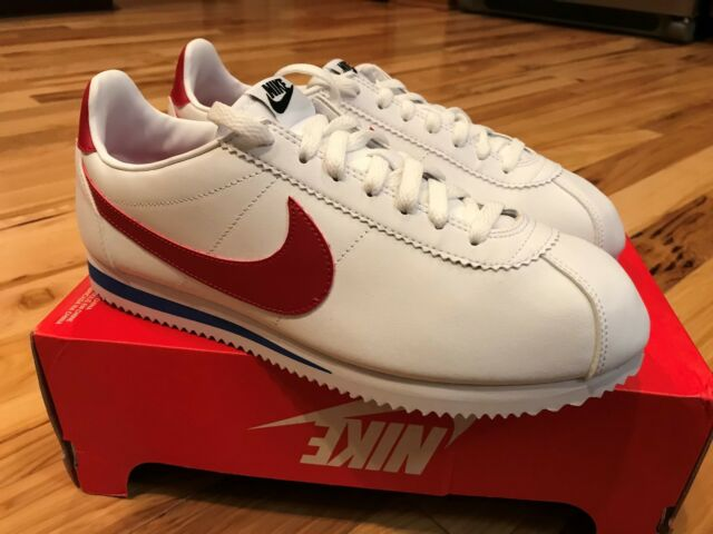 Nike Women s Classic Cortez Leather White Red Forrest Gump 807471-103 Size  11.5 1615ac920652