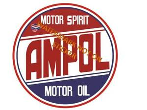 NEW-VINTAGE-AMPOL-FUEL-GASOLINE-ROUND-STICKER-DECAL-LARGE-240mm-dia-HOT-ROD