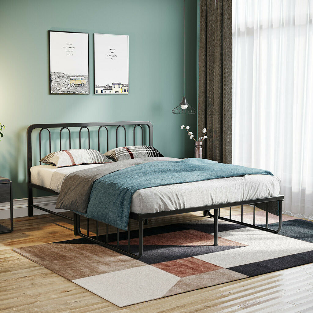 - Queen/Full Size Bed Frame Platform Headboard Foldable Iron Daybed