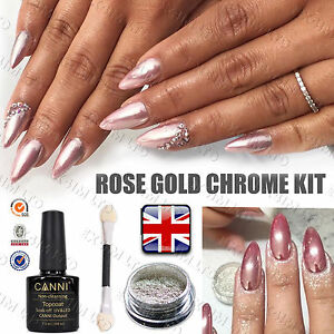 Image Is Loading Rose Gold Chrome Powder Mirror Nails No Wipe