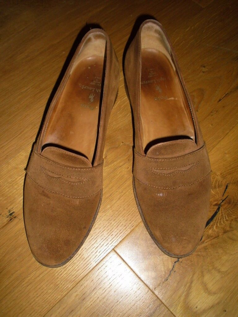 RALPH LAUREN POLO RE-HEELED, DESIGNER FLATS, TAN SUEDE, UK 9.5, RE-HEELED, POLO LEATHER SOLES 9ed80f