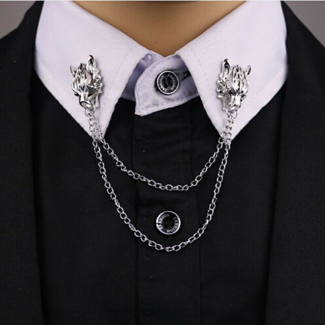 Vintage Wolf Head Brooch Suit Pins Men Jewelry Chain Animal Lapel Pin Cool
