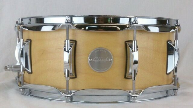 Click Drums Custom 6x14 10ply Maple Snare Drum Natural Satin Oil Finish