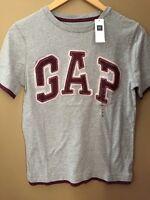 Boys L 10 Gap Kids Gray Burgundy Logo Shirt $17 Top S/s