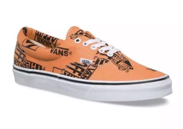 6347ea3de586 New Vans Mens 10.5 Womens 12 Era Logo Mix Tangerine Black Orange Shoes  Sneakers