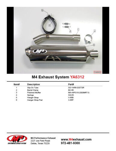 M4 Exhaust Yamaha R6 2003-2005 Standard slip on system with POLISHED muffler