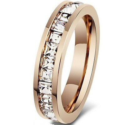 Size 5 6 7 8 9 10 6MM Rose Gold Stainless Steel Ring Wedding Engagement Princess