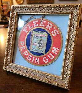 """Fleer's Pepsin Chewing Gum Hanger Two Sided~Original String~Framed 4.25"""" Dia ❤"""