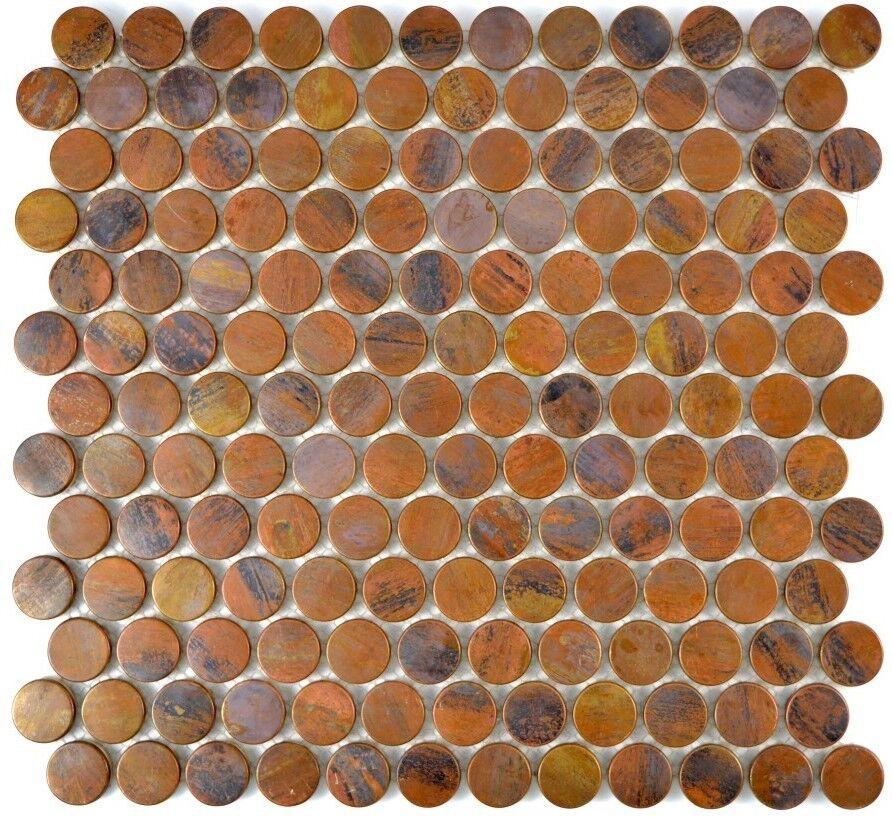 Mosaikfliese Kupfer Knopf Fliesenspiegel Verblender Art  49-1506   10 Matten