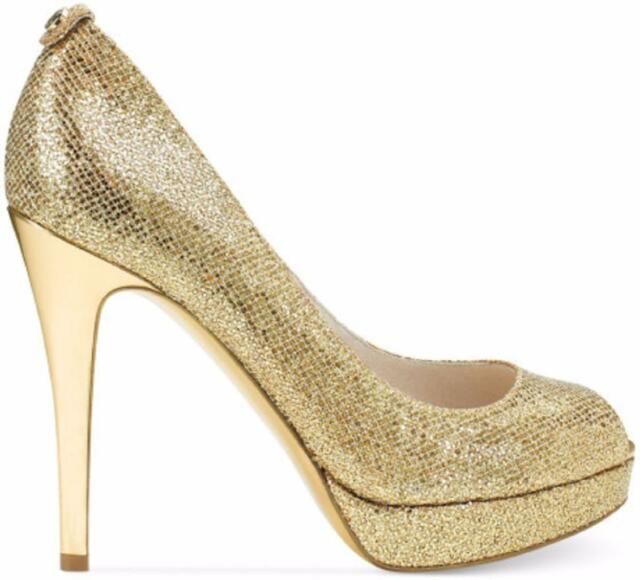 d2eaa7466bb4 Michael Kors York Platform Gold Glitter PEEP Toe Pump Stiletto Heel ...